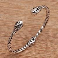 Sterling silver cuff bracelet, 'Eternal Garden' - Hand Crafted Sterling Silver Cuff Bracelet from Bali
