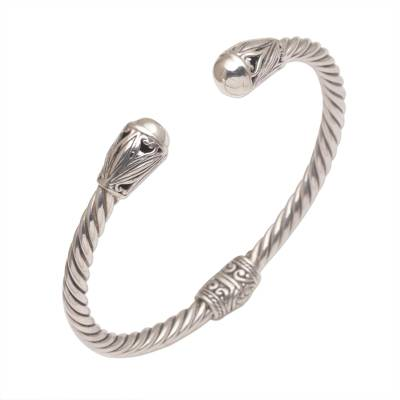 Sterling silver cuff bracelet, 'Eternal Garden' - Hand Crafted Sterling Silver Cuff Bracelet from Bali