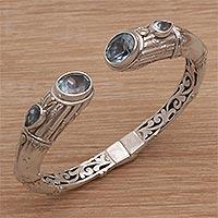 Gold accented blue topaz cuff bracelet, 'Divine Forest' - 18k Gold Accented Blue Topaz Cuff Bracelet from Bali