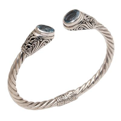 Blue topaz cuff bracelet, 'Ancient Realm' - Blue Topaz and Sterling Silver Cuff Bracelet from Bali