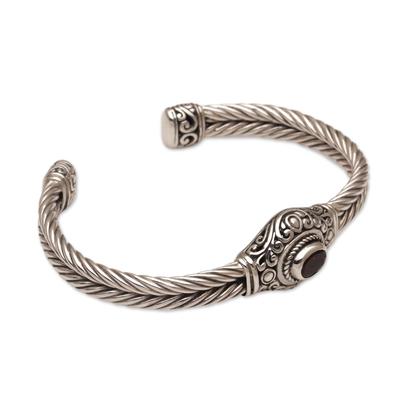 Garnet cuff bracelet, 'Palatial Garden' - Garnet and Sterling Silver Cuff Bracelet from Bali