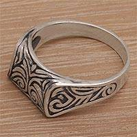 Sterling silver signet ring, 'Temple Entrance'