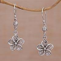 Sterling silver dangle earrings, 'Solitary Jepun' - Handmade 925 Sterling Silver Floral Earrings Indonesia