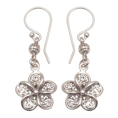 Sterling silver dangle earrings, 'Solitary Jepun' - Handmade 925 Sterling Silver Floral Earrings Indonesia