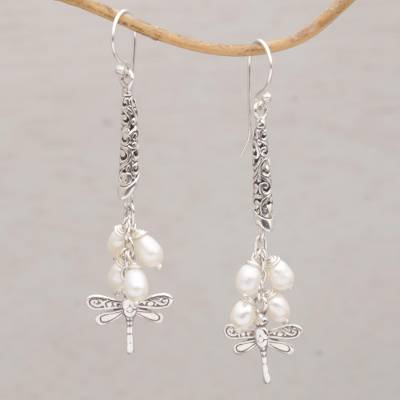 Cultured pearl dangle earrings, 'Island Dragonflies' - Handcrafted Balinese 925 Silver and Cultured Pearl Earrings