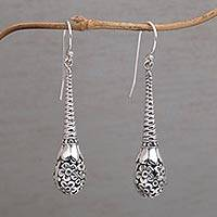 Sterling silver dangle earrings, 'Hanging Petals' - Artisan Hand Crafted 925 Sterling Silver Daisy Drop Earrings