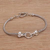 Sterling silver pendant bracelet, 'Elephant Scramble' - Handmade 925 Sterling Silver Elephant Pendant Bracelet