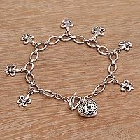 Sterling silver charm bracelet, 'Last Love' - Handmade 925 Sterling Silver Pendant Bracelet Heart