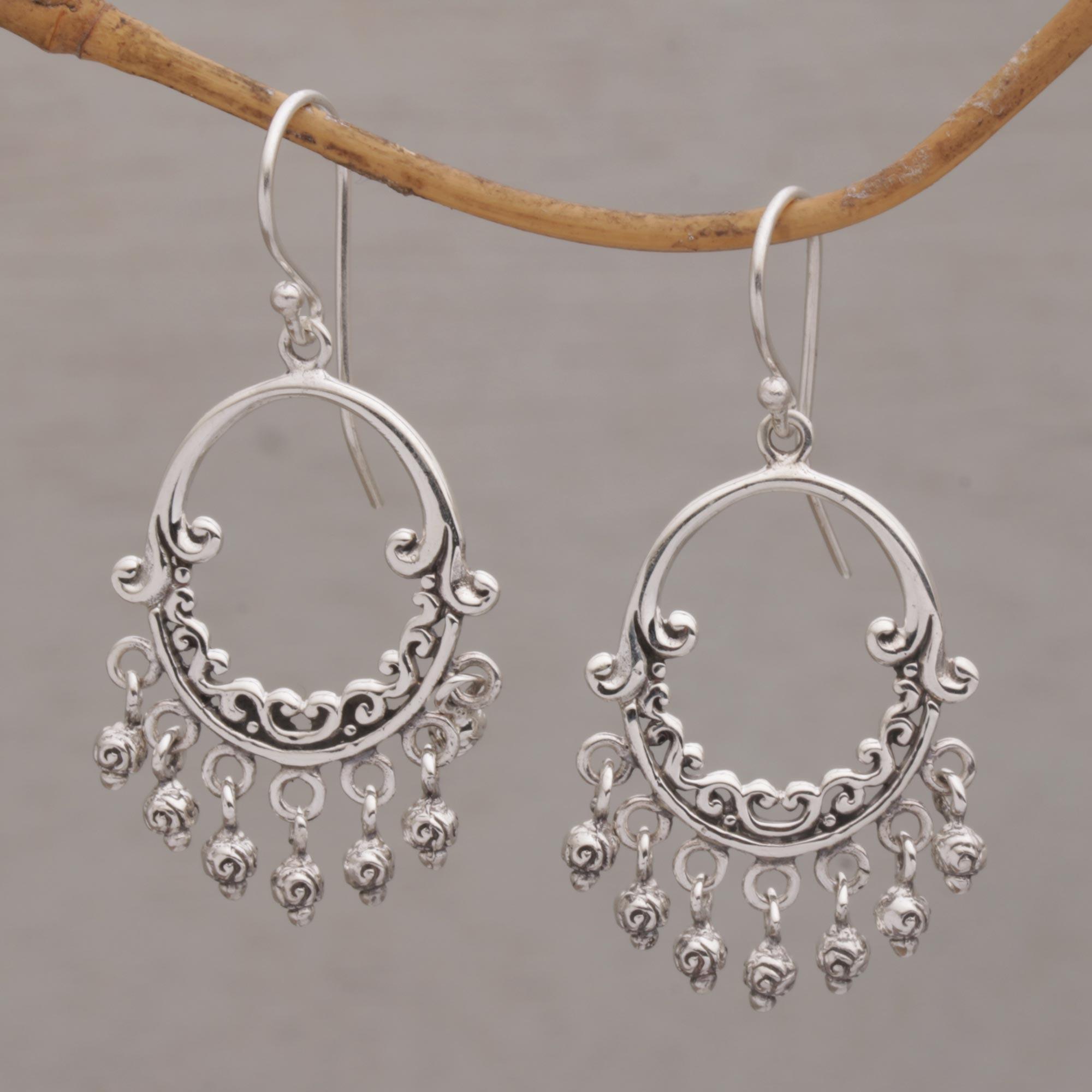 925 Sterling Silver Ball 8mm Shepherd Hook Drop Dangle Chandelier Earrings Fine Jewelry For Women Gifts For Her