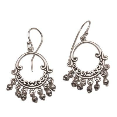 Sterling silver chandelier earrings, 'Dream Bell' - Handmade 925 Sterling Silver Dangle Chandelier Earrings