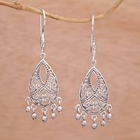 Sterling silver chandelier earrings, 'Ballroom Crest' - Artisan Handmade 925 Sterling Silver Chandelier Earrings