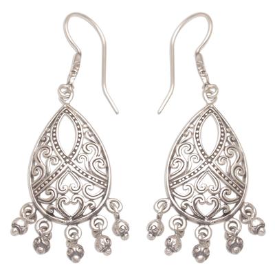 Sterling silver chandelier earrings, 'Ballroom Crest' - Artisan Handmade 925 Sterling Silver Chandelier Earrings