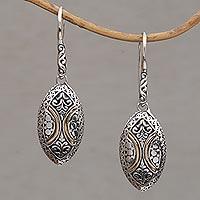 Gold accented sterling silver dangle earrings, 'Palatial Eternity' - 18k Gold Accented Sterling Silver Dangle Earrings from Bali