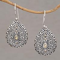 Gold-accented sterling silver dangle earrings, 'Everlasting Memory' - Handmade 18k Gold Plated 925 Sterling Silver Earrings