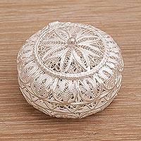 Sterling silver decorative box, 'Beautiful Keep' - Circular Sterling Silver Filigree Decorative Box from Bali