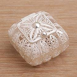 Sterling silver decorative box, 'Keep it Safe' - Square Sterling Silver Filigree Decorative Box from Bali
