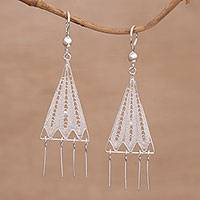 Sterling silver filigree chandelier earrings, 'Triangle Jellyfish' - Triangular Sterling Silver Chandelier Earrings from Bali