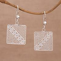Sterling silver filigree dangle earrings, 'Square Elegance' - Square Sterling Silver Filigree Dangle Earrings from Bali