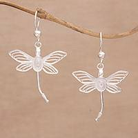 Sterling silver filigree dangle earrings, 'Lively Dragonflies' - Dragonfly Silver Filigree Dangle Earrings from Bali