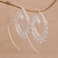Sterling silver filigree half-hoop earrings, 'Hopeful Spirals' - Spiral Motif Silver Filigree Half-Hoop Earrings form Bali