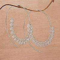 Sterling silver filigree half-hoop earrings, 'Elaborate Spirals' - Spiral-Shaped Silver Filigree Half-Hoop Earrings from Bali