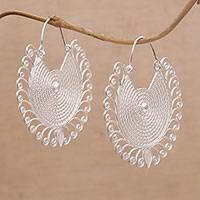 Sterling silver filigree hoop earrings, 'Spiral Corona' - Handmade Sterling Silver Filigree Hoop Earrings from Bali