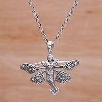 Sterling silver pendant necklace, 'Flying Fairy' - Handmade 925 Sterling Silver Fairy Pendant Necklace