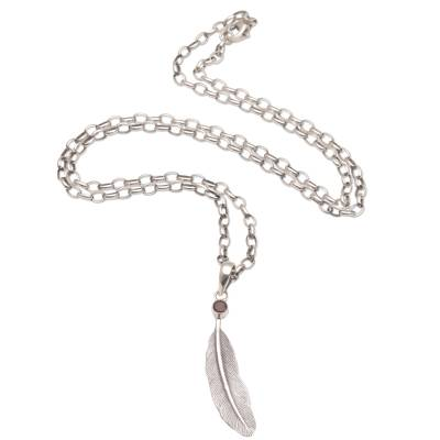 Garnet pendant necklace, 'Fleeting Feather' - Handmade 925 Sterling Silver Garnet Pendant Feather Necklace