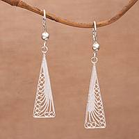 Sterling silver filigree dangle earrings, 'Lovely Angles' - Triangular Silver Filigree Dangle Earrings from Bali