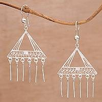 Sterling silver filigree chandelier earrings, 'Angelic Angles' - Handmade Silver Filigree Chandelier Earrings from Bali