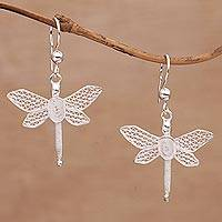 Sterling silver filigree dangle earrings, 'Soaring Dragonflies' - Dragonfly-Shaped Silver Filigree Dangle Earrings from Bali