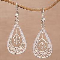 Sterling silver filigree dangle earrings, 'Lively Drops' - Drop-Shaped Silver Filigree Dangle Earrings from Bali
