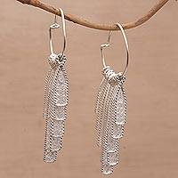 Sterling silver filigree hoop earrings, 'Gleaming Wind Chimes' - Sterling Silver Filigree Chandelier Earrings from Bali