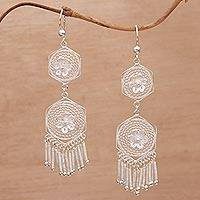 Sterling silver filigree chandelier earrings, 'Glistening Life' - Floral Silver Filigree Chandelier Earrings from Bali