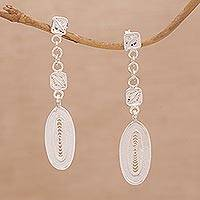 Sterling silver filigree dangle earrings, 'Glistening Ovals' - Oval Sterling Silver Filigree Dangle Earrings from Bali