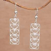 Sterling silver filigree dangle earrings, 'Glistening Half Moons' - Semi-Circle Motif Silver Filigree Dangle Earrings from Bali