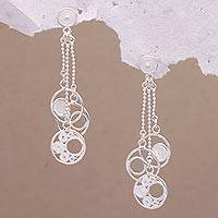 Sterling silver filigree dangle earrings, 'Circle Dimension' - Sterling Silver Chain Waterfall Orbs Filigree Earrings