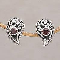 Garnet button earrings, 'Radiant Claw' - 925 Sterling Silver Handmade Garnet Stud Earrings Indonesia