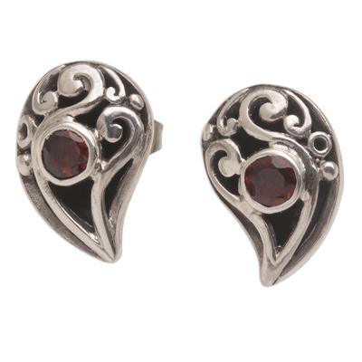 Garnet button earrings, 'Radiant Claw' - 925 Sterling Silver Handmade Garnet Stud Earrings Indonesia