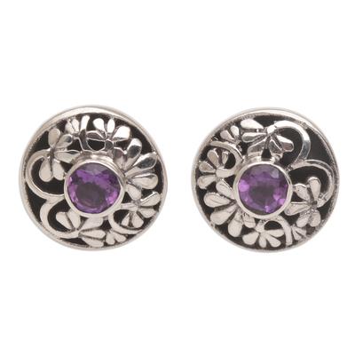 Handmade Amethyst 925 Sterling Silver Stud Earrings