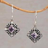 Amethyst dangle earrings, 'Blessed Window' - Sterling Silver and Amethyst Dangle Earrings from Bali