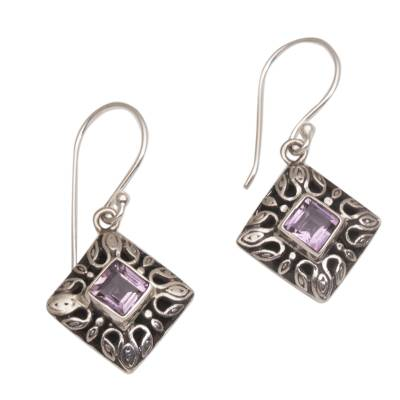 Fair Trade Purple Amethyst Diamond Shaped Dangle Earring