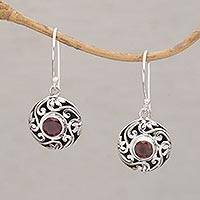 Garnet dangle earrings, 'Moonlight Bouquet' - Artisan Handmade 925 Sterling Silver Garnet Dangle Earrings