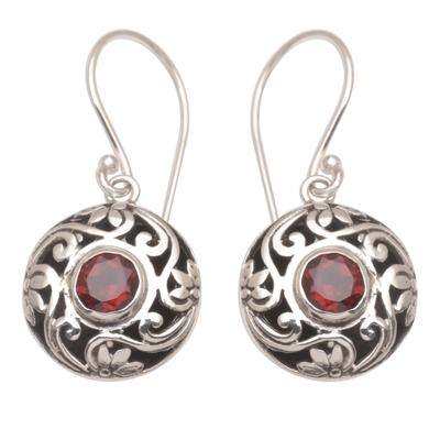 Artisan Handmade 925 Sterling Silver Garnet Dangle Earrings
