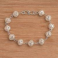 Sterling silver filigree link bracelet, 'Hoping' - Sterling Silver Filigree Link Bracelet from Indonesia