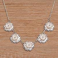 Sterling silver filigree pendant necklace, 'Afternoon Breeze' - Sterling Silver Filigree Pendant Necklace with Floral Design