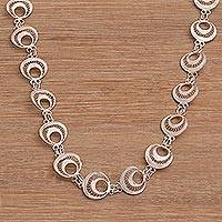 Sterling silver filigree link necklace, 'Glistening Crescents' - Sterling Silver Filigree Link Necklace from Bali