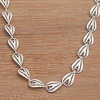 Sterling silver filigree link necklace, 'Spiraling Teardrops' - Handmade Sterling Silver Filigree Link Necklace from Bali