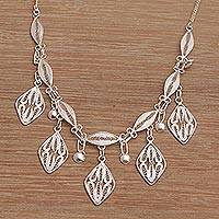 Sterling silver filigree pendant necklace, 'Diamond Drops' - Sterling Silver Filigree Pendant Necklace Necklace from Bali