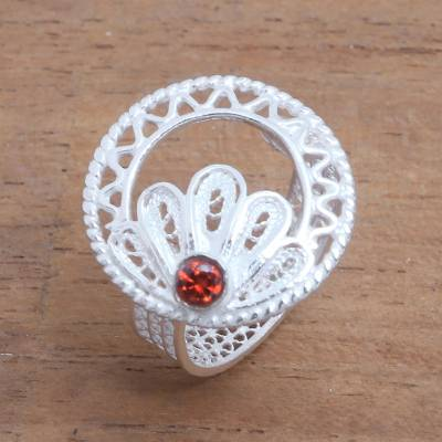 Clear Quartz Sterling Silver Filigree Ring from Indonesia
